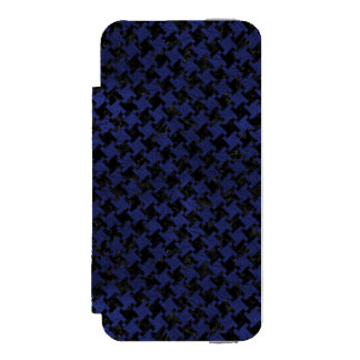 HOUNDSTOOTH2 BLACK MARBLE & BLUE LEATHER INCIPIO WATSON™ iPhone 5 WALLET CASE