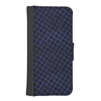 HOUNDSTOOTH2 BLACK MARBLE & BLUE LEATHER iPhone SE/5/5s WALLET CASE