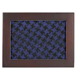 HOUNDSTOOTH2 BLACK MARBLE & BLUE LEATHER KEEPSAKE BOX