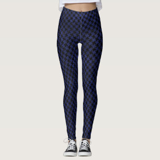HOUNDSTOOTH2 BLACK MARBLE & BLUE LEATHER LEGGINGS