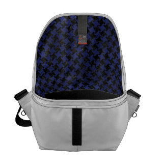 HOUNDSTOOTH2 BLACK MARBLE & BLUE LEATHER MESSENGER BAG