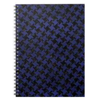 HOUNDSTOOTH2 BLACK MARBLE & BLUE LEATHER NOTEBOOKS