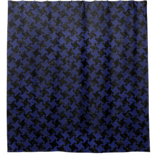 HOUNDSTOOTH2 BLACK MARBLE & BLUE LEATHER SHOWER CURTAIN