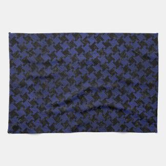 HOUNDSTOOTH2 BLACK MARBLE & BLUE LEATHER TEA TOWEL