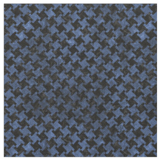 HOUNDSTOOTH2 BLACK MARBLE & BLUE STONE FABRIC