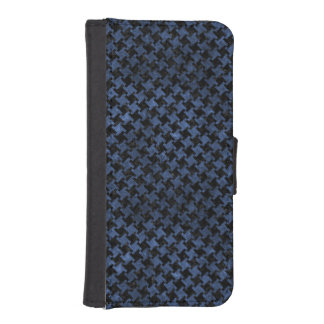 HOUNDSTOOTH2 BLACK MARBLE & BLUE STONE iPhone SE/5/5s WALLET CASE
