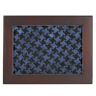HOUNDSTOOTH2 BLACK MARBLE & BLUE STONE KEEPSAKE BOX