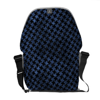 HOUNDSTOOTH2 BLACK MARBLE & BLUE STONE MESSENGER BAGS