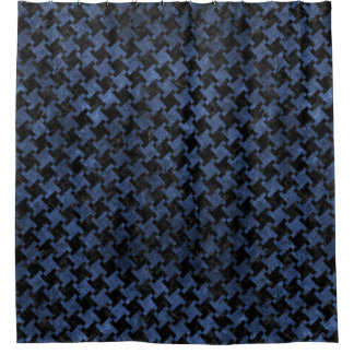 HOUNDSTOOTH2 BLACK MARBLE & BLUE STONE SHOWER CURTAIN