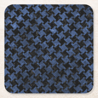 HOUNDSTOOTH2 BLACK MARBLE & BLUE STONE SQUARE PAPER COASTER