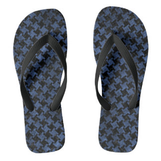 HOUNDSTOOTH2 BLACK MARBLE & BLUE STONE THONGS