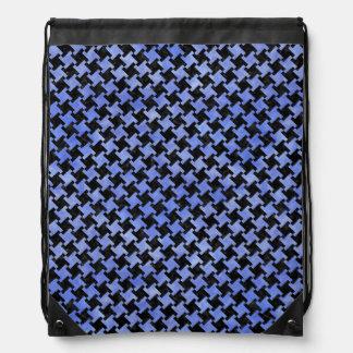 HOUNDSTOOTH2 BLACK MARBLE & BLUE WATERCOLOR DRAWSTRING BAG