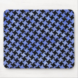 HOUNDSTOOTH2 BLACK MARBLE & BLUE WATERCOLOR MOUSE PAD