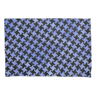 HOUNDSTOOTH2 BLACK MARBLE & BLUE WATERCOLOR PILLOWCASE