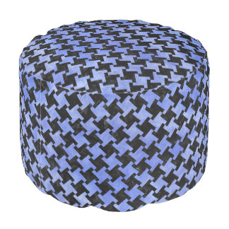 HOUNDSTOOTH2 BLACK MARBLE & BLUE WATERCOLOR POUF