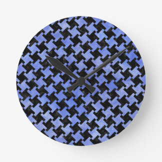 HOUNDSTOOTH2 BLACK MARBLE & BLUE WATERCOLOR ROUND CLOCK