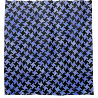 HOUNDSTOOTH2 BLACK MARBLE & BLUE WATERCOLOR SHOWER CURTAIN