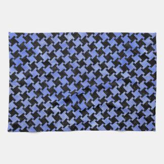 HOUNDSTOOTH2 BLACK MARBLE & BLUE WATERCOLOR TEA TOWEL