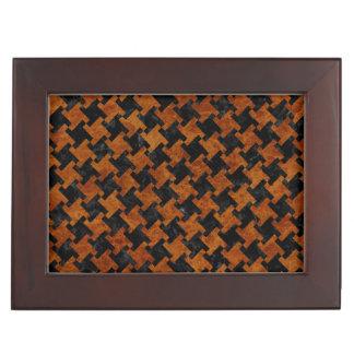 HOUNDSTOOTH2 BLACK MARBLE & BROWN MARBLE KEEPSAKE BOXES