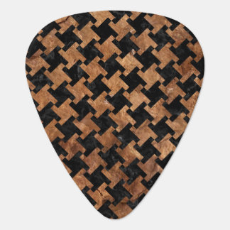HOUNDSTOOTH2 BLACK MARBLE & BROWN STONE GUITAR PICK