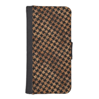 HOUNDSTOOTH2 BLACK MARBLE & BROWN STONE iPhone SE/5/5s WALLET CASE