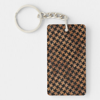 HOUNDSTOOTH2 BLACK MARBLE & BROWN STONE KEY RING