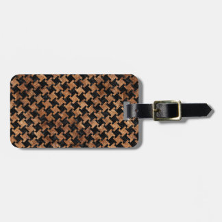 HOUNDSTOOTH2 BLACK MARBLE & BROWN STONE LUGGAGE TAG