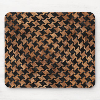 HOUNDSTOOTH2 BLACK MARBLE & BROWN STONE MOUSE PAD