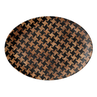 HOUNDSTOOTH2 BLACK MARBLE & BROWN STONE PORCELAIN SERVING PLATTER