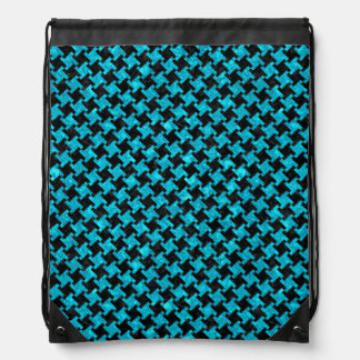 HOUNDSTOOTH2 BLACK MARBLE & TURQUOISE MARBLE DRAWSTRING BAG
