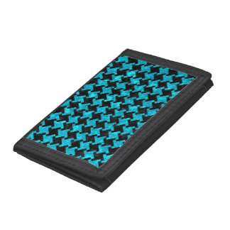 HOUNDSTOOTH2 BLACK MARBLE & TURQUOISE MARBLE TRIFOLD WALLETS