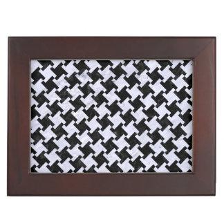 HOUNDSTOOTH2 BLACK MARBLE & WHITE MARBLE KEEPSAKE BOX