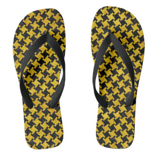 HOUNDSTOOTH2 BLACK MARBLE & YELLOW MARBLE THONGS