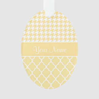 Houndstooth and Quatrefoil Yellow and White