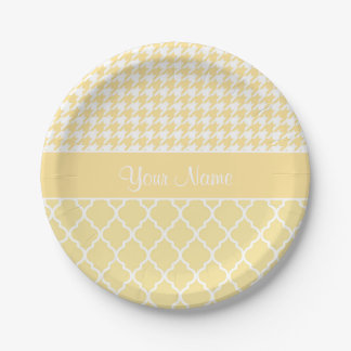 Houndstooth and Quatrefoil Yellow and White 7 Inch Paper Plate