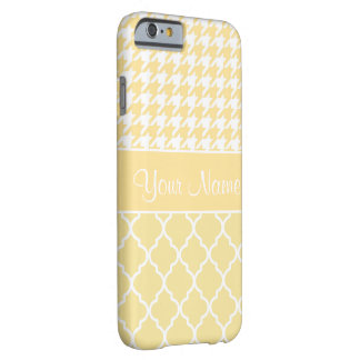 Houndstooth and Quatrefoil Yellow and White Barely There iPhone 6 Case