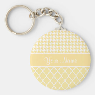 Houndstooth and Quatrefoil Yellow and White Basic Round Button Key Ring