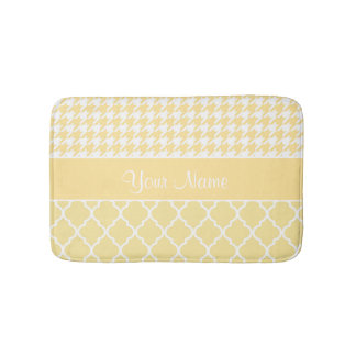 Houndstooth and Quatrefoil Yellow and White Bath Mat