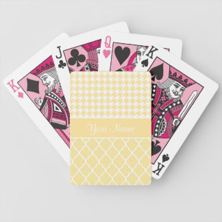Houndstooth and Quatrefoil Yellow and White Bicycle Playing Cards