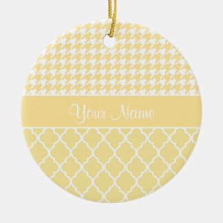 Houndstooth and Quatrefoil Yellow and White Ceramic Ornament