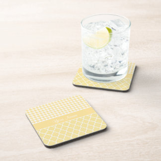 Houndstooth and Quatrefoil Yellow and White Coaster