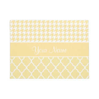 Houndstooth and Quatrefoil Yellow and White Doormat