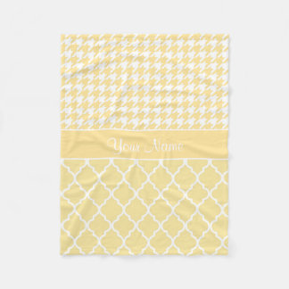 Houndstooth and Quatrefoil Yellow and White Fleece Blanket
