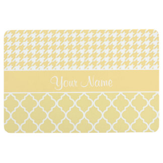 Houndstooth and Quatrefoil Yellow and White Floor Mat