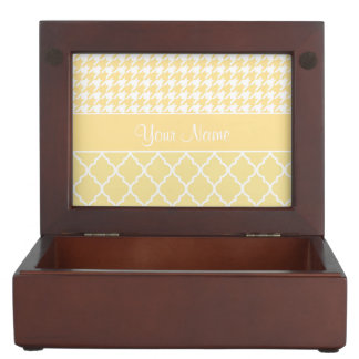 Houndstooth and Quatrefoil Yellow and White Keepsake Box