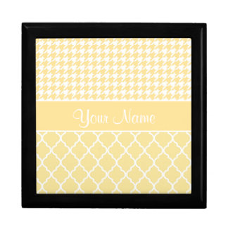 Houndstooth and Quatrefoil Yellow and White Large Square Gift Box