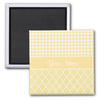 Houndstooth and Quatrefoil Yellow and White Magnet