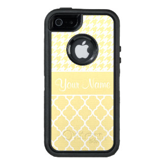 Houndstooth and Quatrefoil Yellow and White OtterBox Defender iPhone Case