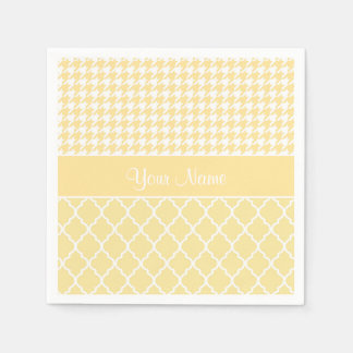 Houndstooth and Quatrefoil Yellow and White Paper Napkins