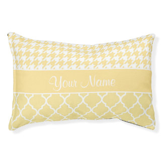 Houndstooth and Quatrefoil Yellow and White Pet Bed